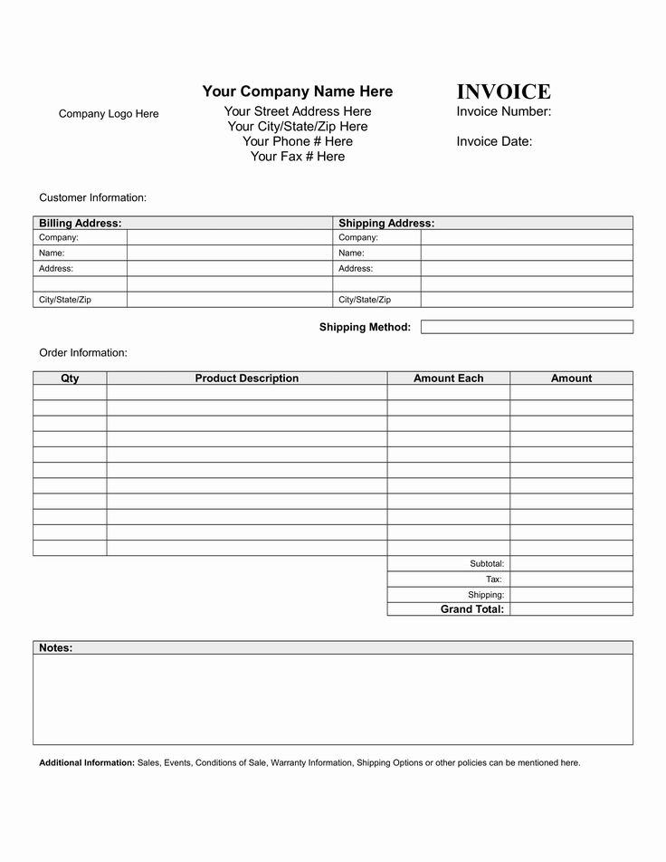 Free Blank Invoice in 2020 Invoice template, Business