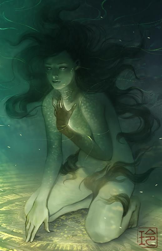 Glowing underwater spirit, undine, mermaid, selkie, nymph. So beautiful.  April by raqmo