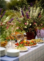 Mom- you are a genius.   potluck reception....perfect for a sweet, simple, southern wedding.
