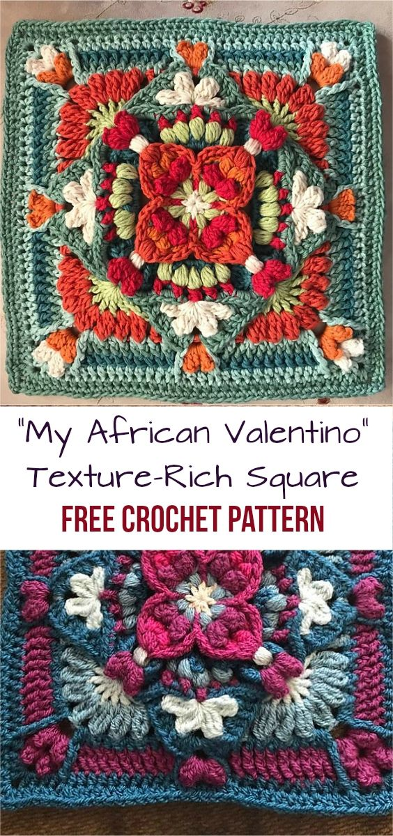 """My African Valentino"" Crochet Texture-Rich Square [Free Pattern]"