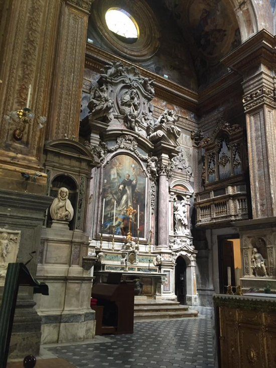 """Santa Caterina a Formiello, Naples.  The Chapel of St. Dominic, (1715) The altarpiece """"St. Dominic Defeating the Albigensi""""."""