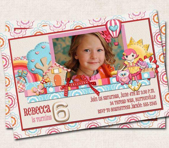LaLa Loopsy Birthday Party Invitation, lalaloopsy inspired, pink red blue yellow, dolls, you-print (Digital File). $15.00, via Etsy.