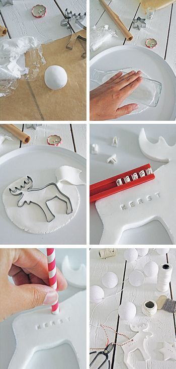 紙粘土をクッキー型でくり抜いて、文字を付けたり絵を描けば完成。 真っ白な色がクリスマスにピッタリですね。