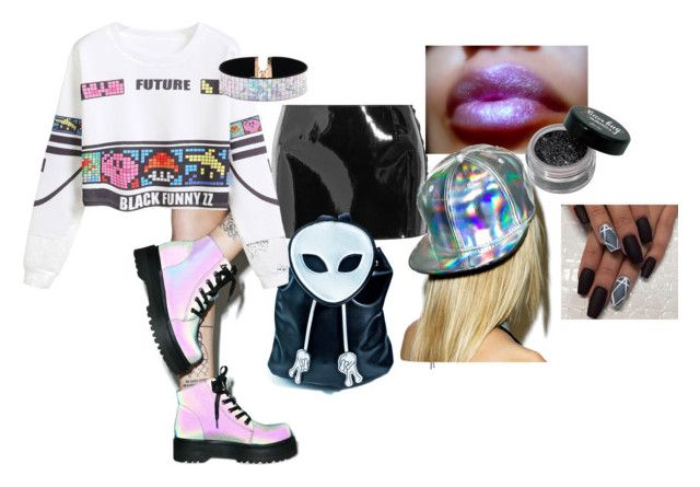 meeee by ayozimhere on Polyvore featuring WithChic, Anthony Vaccarello, Y.R.U., Current Mood, Forever 21 and Hollywood Mirror