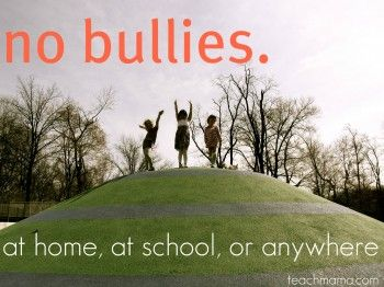 "Blog article: ""No Bullies"" with links, picture books + video -- resources galore: Ideas, At Home, Handles Bullies, Schools, Anti Bullies, Pictures Books, Books Lists, Kids, Bullies Resources"