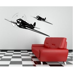 in the nursery vintage corsair world war 2 airplane wall decal vinyl aviation sticker home decor - Compact Hotel Decor