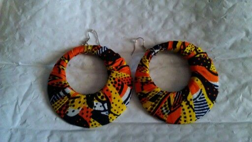 African print circle earrings