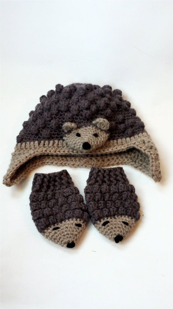 Hedgehog mittens and hat earflap hat and baby by PoppyBlueCrochet