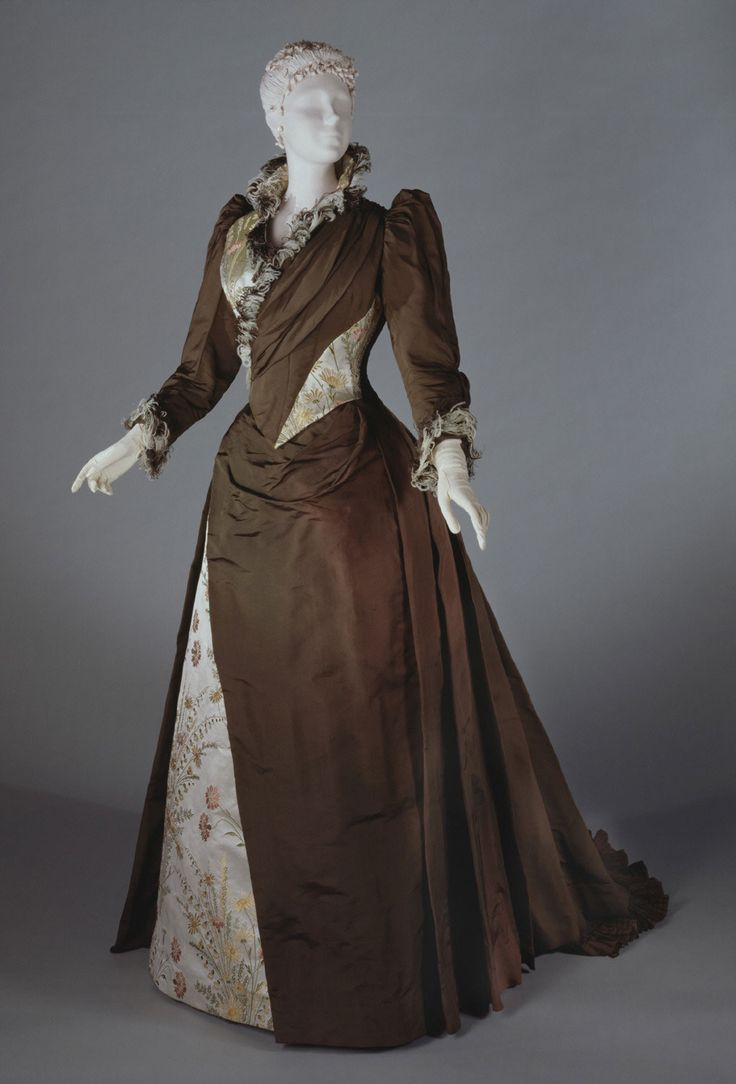 Woman's Dress (Bodice With Attached Overskirt, Dickey And Skirt) Made Of Silk Warp-Faced Plain n Weave, Silk Satin With Brocading And Ostrich Feathers - Designed By John Redfern & Sons (Paris, 1881-1892) -  France   c.1889-1891  -  Philadelphia Museum of Art