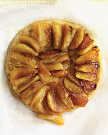 Caramelized Apple Tart  To make this rustic version of tarte Tatin, you simmer apple wedges, butter, and sugar in a skillet, and then top with pastry and finish in the oven. Short on time? Use store-bought pie crust for this dessert.