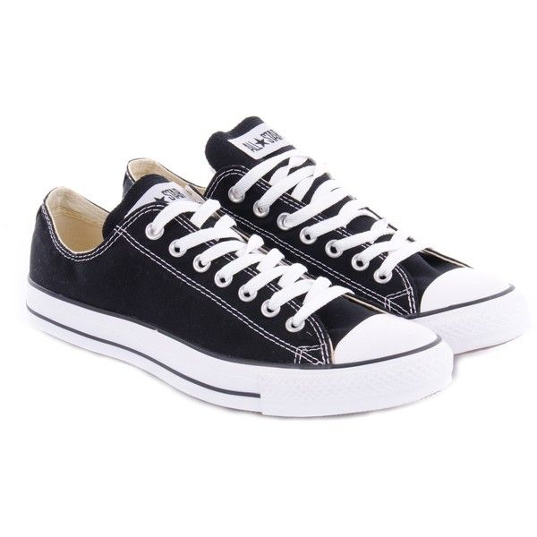 Converse All Star Ox Low Black ❤ liked on Polyvore featuring shoes, sneakers, converse, converse sneakers, kohl shoes, converse footwear, low sneakers and converse trainers