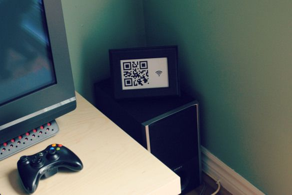 Framed QR code so guests can access the wifi