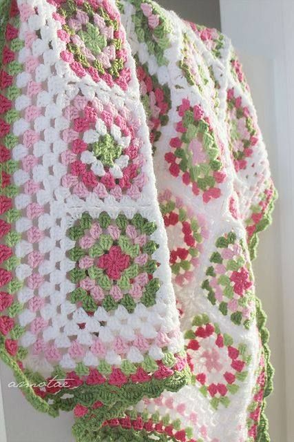 Knit Crochet Afghan - Preppy Pastel Pink &  Green - Love!
