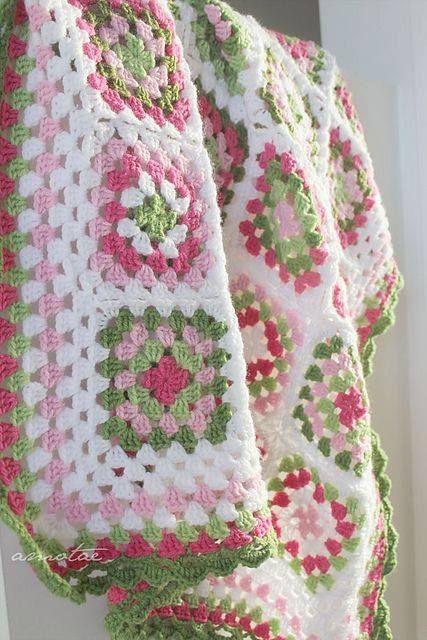 Knit Crochet Afghan - Preppy Pastel Pink & Green - Love!