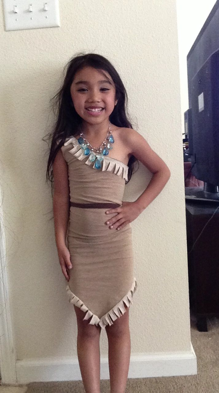DIY kids Pocahontas costume using 3 tshirts from goodwill for $.99 each and necklace  sc 1 st  Pinterest & 224 best Disney DIY costumes images on Pinterest | Carnivals ...