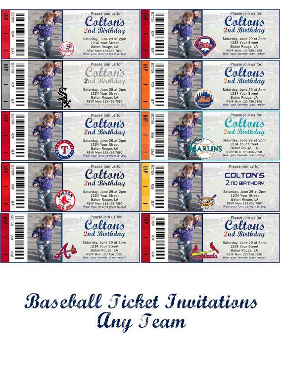 Baseball Ticket Invitations Red Socks White Socks Marlins Yankees LSU Cardinals Mets Any Team You Want via Etsy