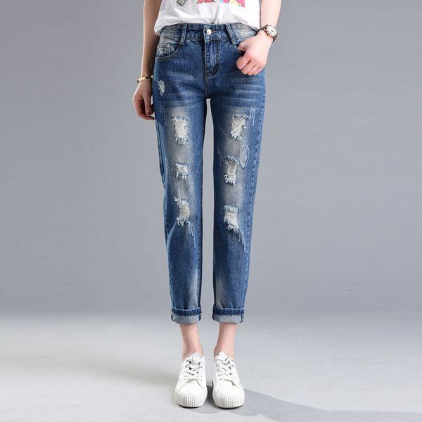 Сыпучие каждый день специальные летние модели колготок отверстие джинсы женские брюки нищий тонкий Тонкий прямые джинсы Б.Ф.