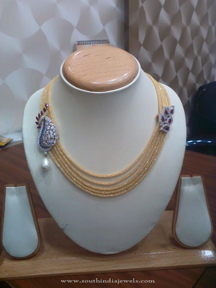 Gold Short Multi-layer Designer Necklace, Multilayer Gold CZ Stone Necklace, Designer CZ Stone Necklace Designs.