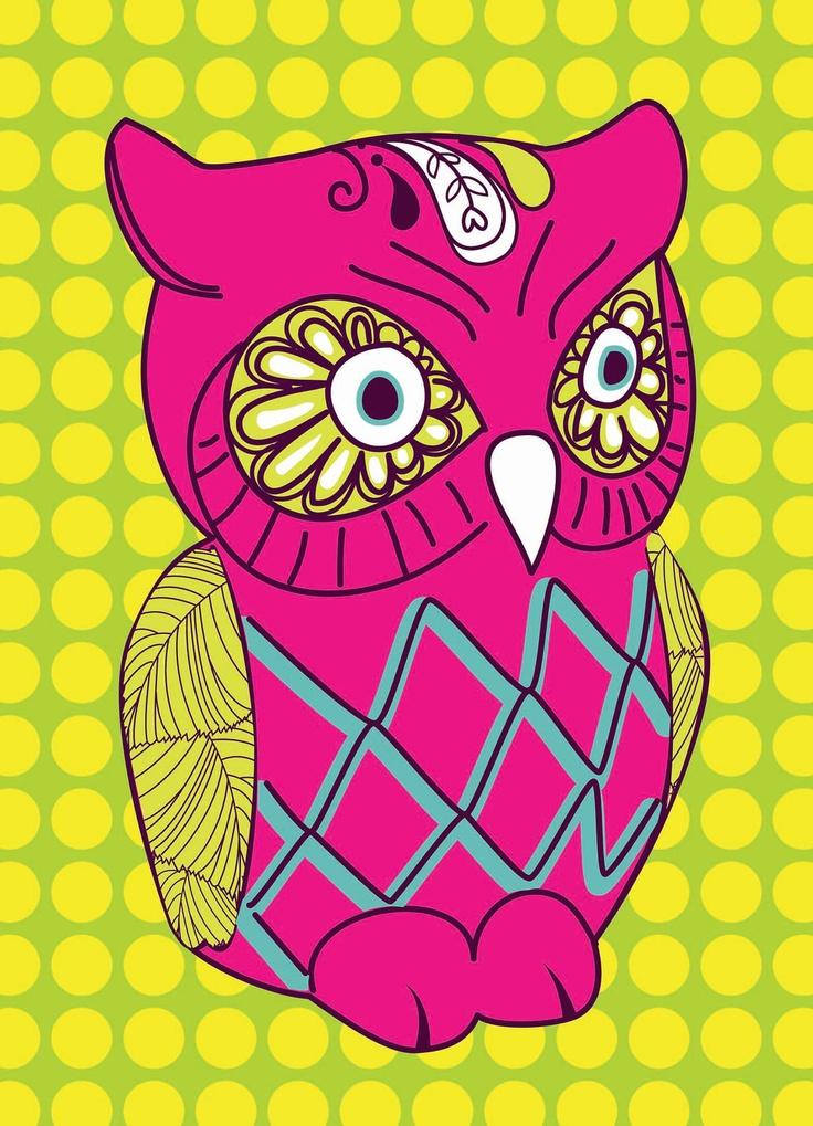 'Bright Retro Owl' by Michelle Pocock