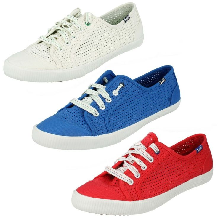 LADIES KEDS CELEB PERF LACE UP CASUAL TRAINERS SUMMER FLAT CANVAS PUMPS SHOES #Keds #Canvas #Casual