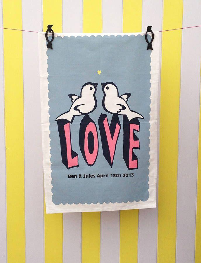 personalised love birds t towel by petra boase | notonthehighstreet.com