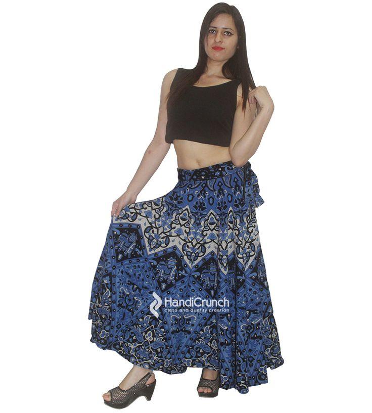 Royal blue color designer long rapron skirt for girls