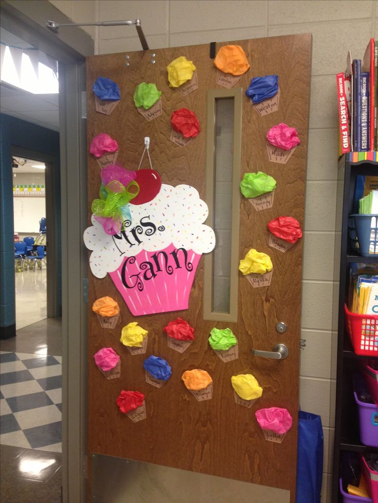 Cupcake door decor door decorations pinterest doors for Art decoration for classroom