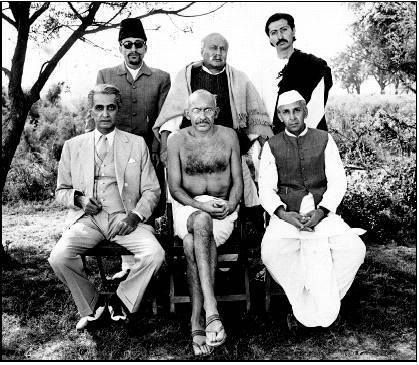 On the sets of Richard Attenborough's 'Gandhi' (1982).  L to R (seated): Alyque Padamsee (Mohammed Ali Jinnah), Ben Kingsley (Mohandas Karamchand Gandhi) and Roshan seth (Pandit Jawaharlal Nehru).  L to R (standing): Virendra Razdan (Maulana Azad), Saeed Jaffrey (Sardar Vallabhbhai Patel) and Anang Desai (JB Kripalani).   Follow Bollywoodirect #bollywood
