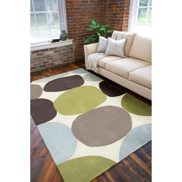 Hand Tufted Contemporary Multi Colored Circles Abstract Rug 8 Round Ivory Size 5 X