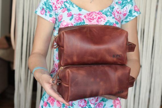 Groomsmen Gift Leather Bag Dopp Kit Customized Leather Toiletry Bag
