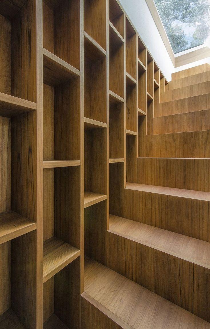 Stairs  Bookshelves - Pinewood of Marina by Massimo Fiorido Associati + sundaymorning