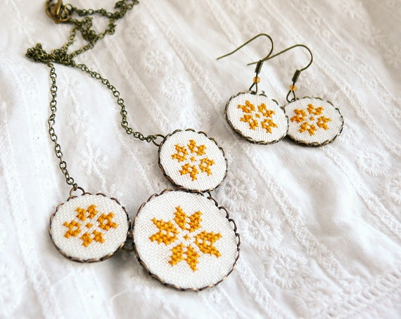 Cross stitch jewelry set necklace and earrings with by skrynka, $40.00