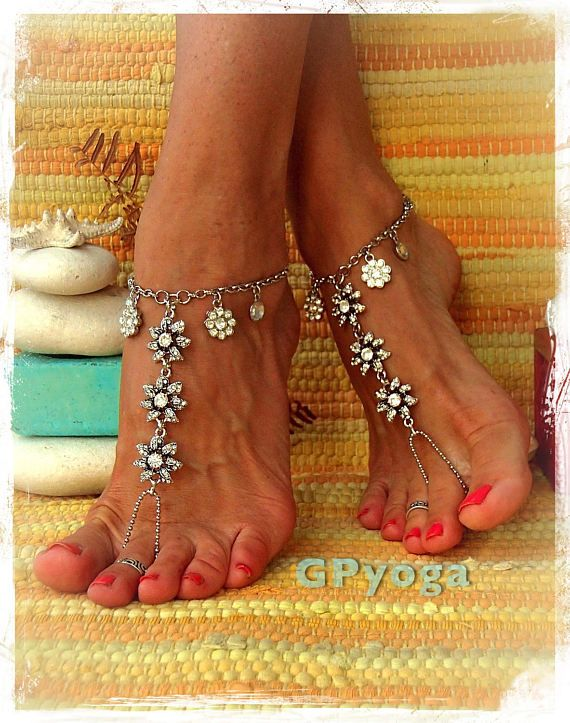 Silver Rhinestone WEDDING BAREFOOT SANDALS Effervescent Chain