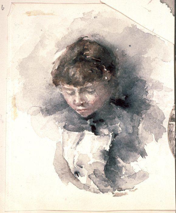 [Hodgkins, Frances Mary] 1869-1947 :[Portrait sketch of a girl. ca 1890]
