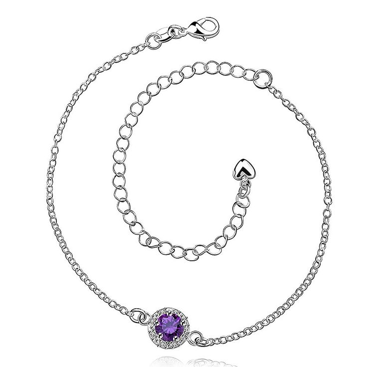 Anklet bracelet Plated silver sterling 925 High quality novelty jewellery Cubic Zirconia Woman Purple Jewel of foot Ars