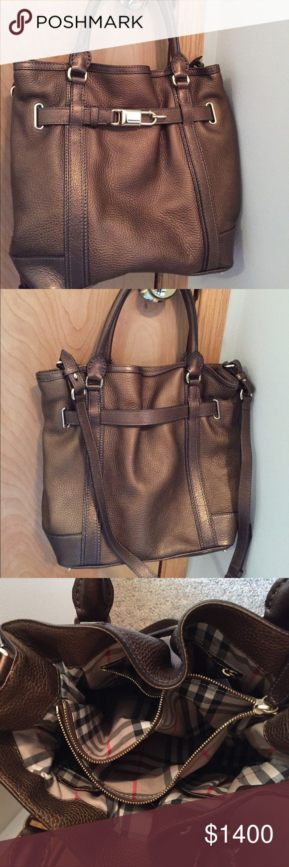 Burberry leather Antique Gold Medium Tote Burberry London Grainy Leather Medium Tote in Antique Gold Made in Italy. Middle has a zipper part. This is a beautiful handbag. Poshmark will authenticate. It has a crossbody strap as well as handles Burberry Bags Totes