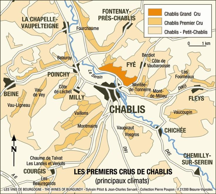 Chablis Wine Region Map - Vincent Dauvissat, Louis Michel, Tribut