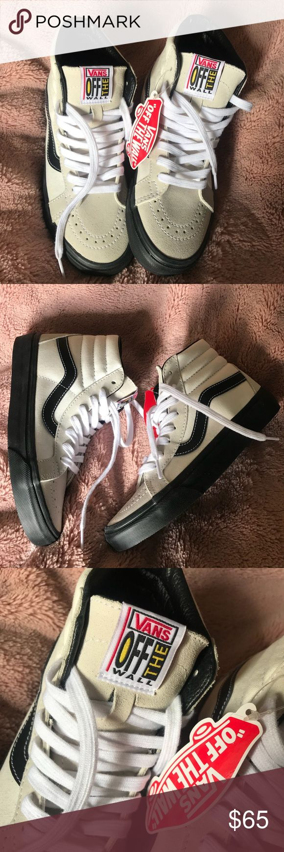 NEW RARE Sk8 Hi Vans Women's 6 Cream + Black UO NEW Sk8 Hi Vans Women's 6   Cream + Black   RARE UO Urban Outfitters Vans Off the Wall   brand new condition   final Sale   ships USPS with tracking # Vans Shoes Sneakers