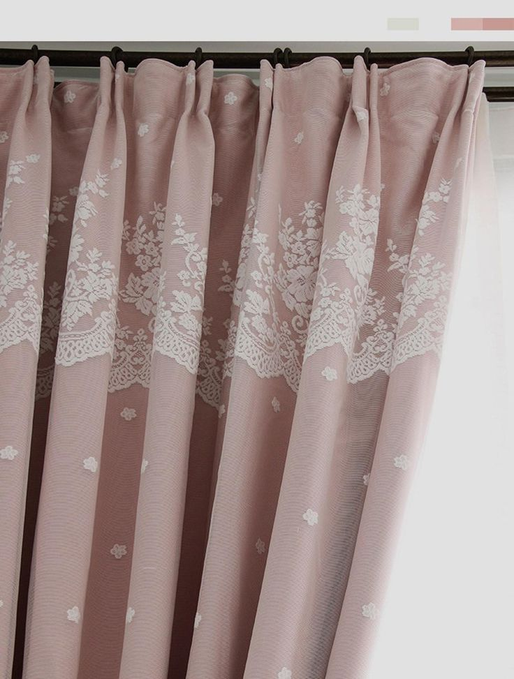 Rose Vine Dusty Pink, Double Rod Pocket Sheer Curtains