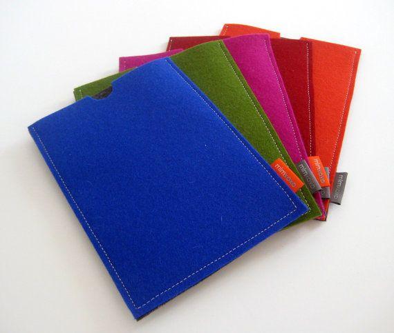 iPad Mini case by mlmxoxo. pure wool felt. Apple computer accessory. royal blue. green. magenta. orange. red. tablet case. tablet sleeve.