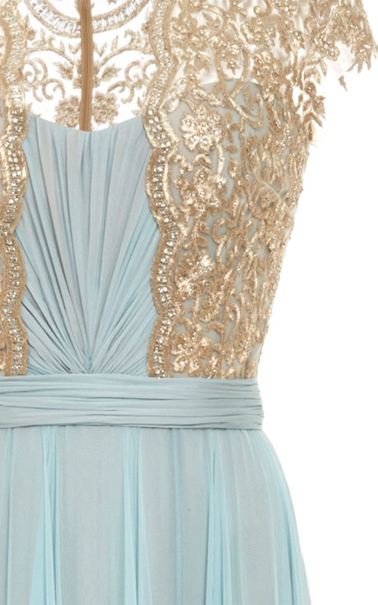 Embroidered Illusion Silk Chiffon Gown by Reem Acra on Moda Operandi - detail.