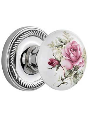 English porcelain door set with pink roses