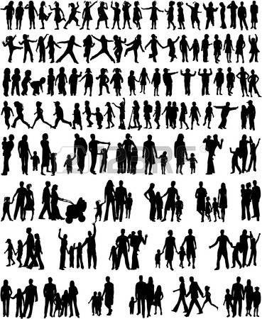 familie%3A+Collectie+van+de+familie+silhouetten+Stock+Illustratie