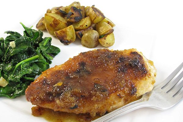 A Wonderful, Skinny Chicken Dinner. First, one of my all time favorite chicken recipes…Skinny Lemon Glazed Chicken. To serve with it, country fried potatoes and a lovely garlic spinach. http://www.skinnykitchen.com/recipes/a-wonderful-skinny-chicken-dinner/