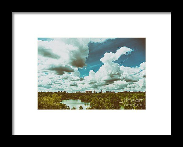Bucharest City Skyline View From Youths Park Parcul Tineretului With Blue Sky And White Clouds Framed Print