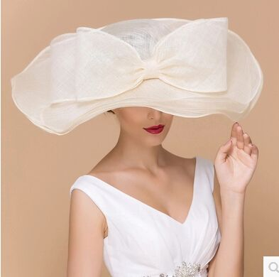 ivory pink black Sinamay Wedding Church Hat Formal Horse Races Hats for Women Kentucky Derby/Wedding/Spring/ Fedoras Cap(China (Mainland))