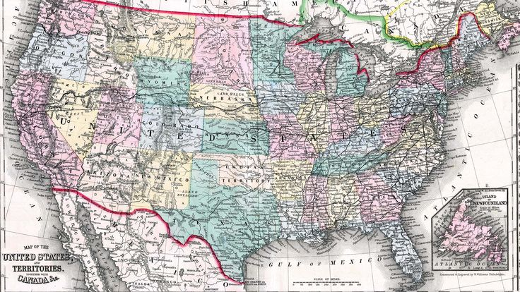Mapa de Estados Unidos de 1870
