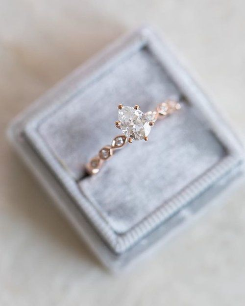 LOVE Rose Gold - Custom Pear shape engagement ring with a modified unique Princess band.  Need yours? DM to begin the process with one of our Diamond & Design experts :) #beautifulweddingringsjewelry