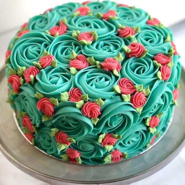 Retro Rosettenkuchen – #cake #retro #rosette   – Cake Decorating Cupcake Ideen -…