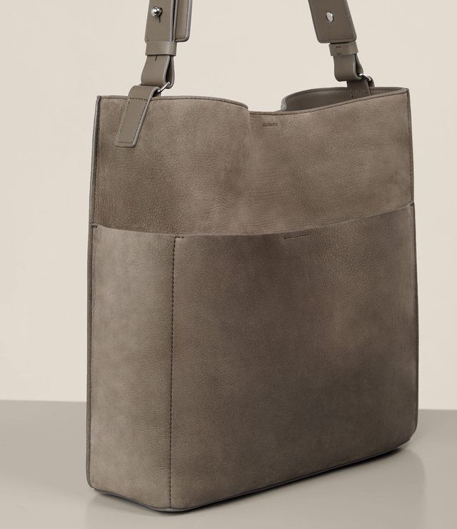 NWT ALLSAINTS $298 Echo Grey North/South Nubuck Leather Tote Handbag  #AllSaints #Tote